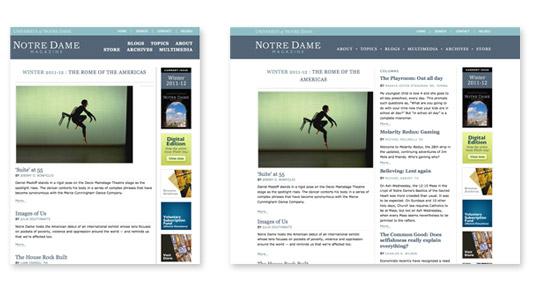 Notre Dame Magazine's adaptive design