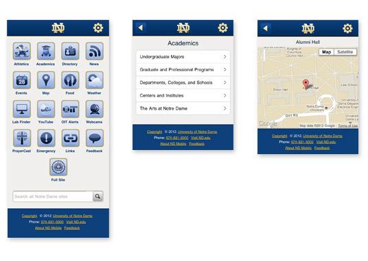 Notre Dame's custom mobile site