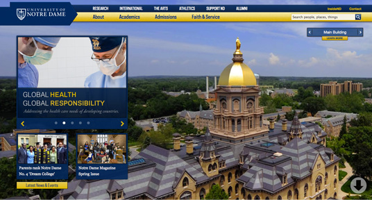 An image of Notre Dame's Responsive site circa May 6, 2012.