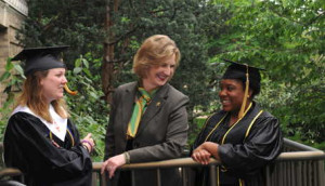 Cheryl Shrader, chancellor of Missouri S&T, with students