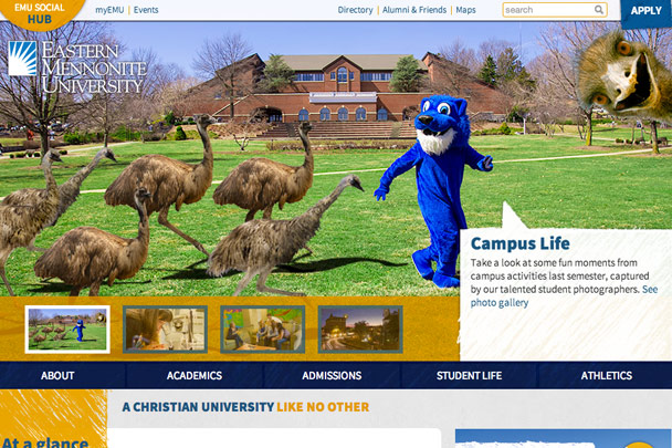 Eastern Mennonite University April Fools' homepage takeover