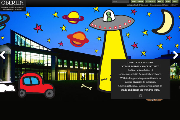 Oberlin April Fools' homepage takeover