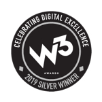 w3 award icon in black and white
