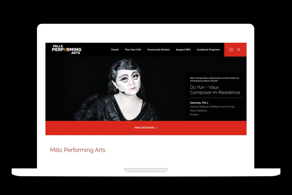 mockup of mills performing arts homepage on a macbook icon with a black background