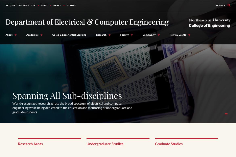 northeastern's full width homepage