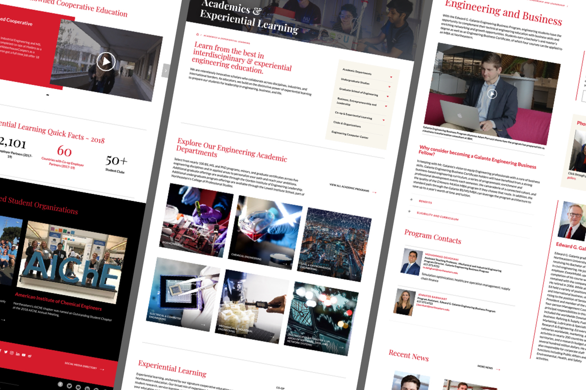 northeastern website pages on multiple different pages