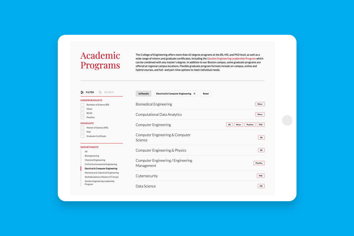 northeastern academics web page on a tablet