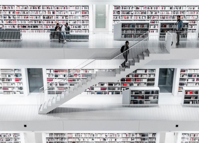 interior of three story library