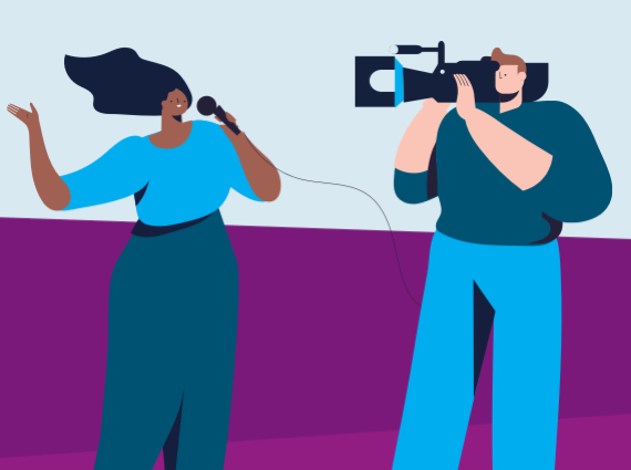 animated graphic of reporter and cameraman