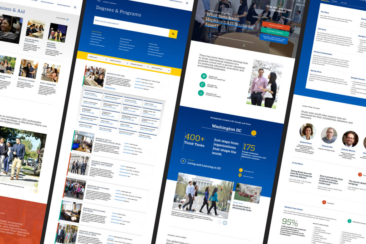 mockup of multiple screens from site