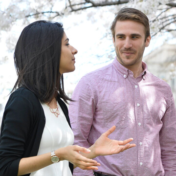two students talking