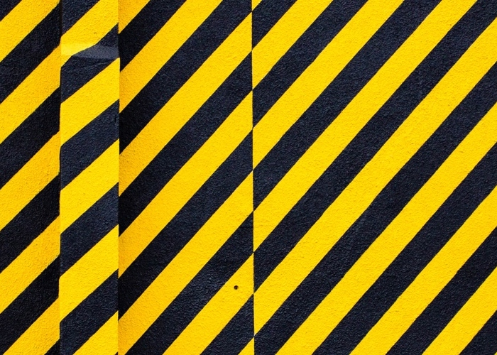 black and yellow caution stripes
