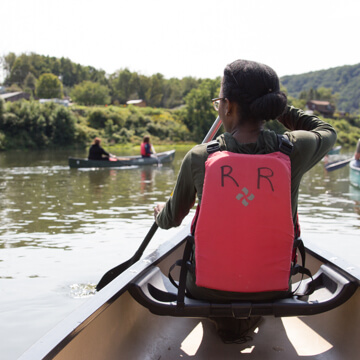 Student in kayak