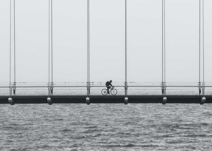 person riding their bike across a long bridge