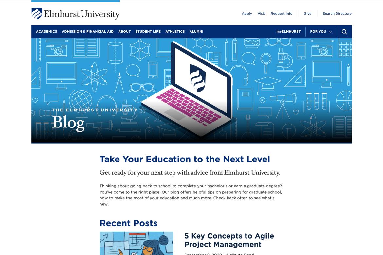 Elmhurst University full homepage