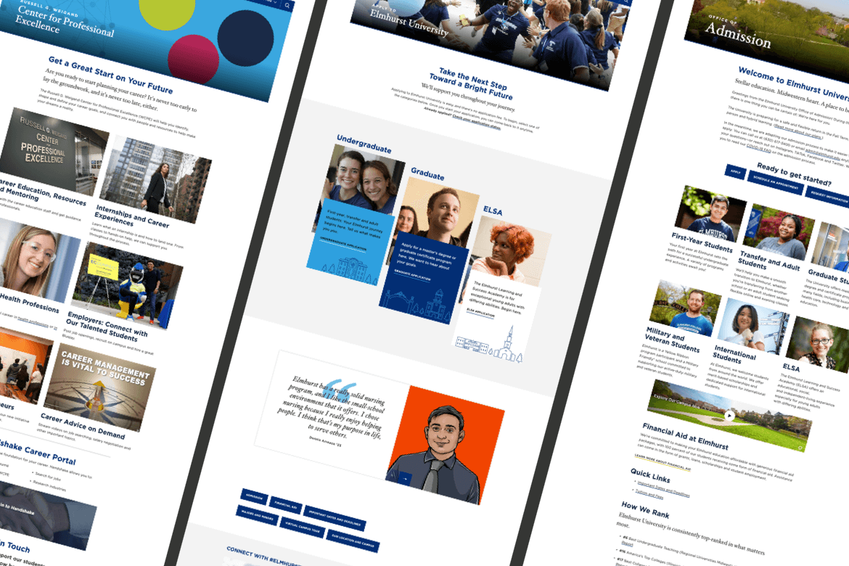 Multiple screens of different Elmhurst University webpages