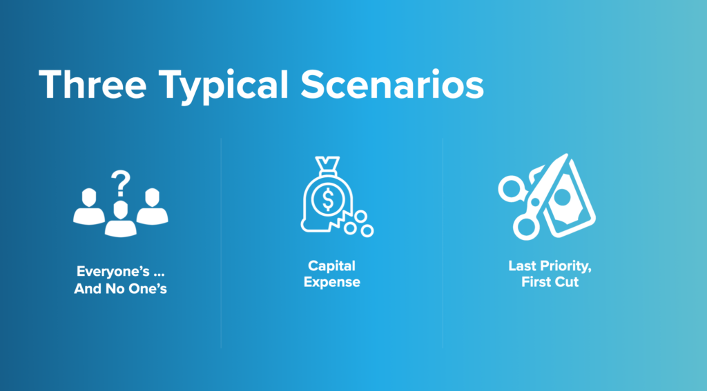 three typical scenarios: everyone's and no one's, capital expense, and last priority so first cut
