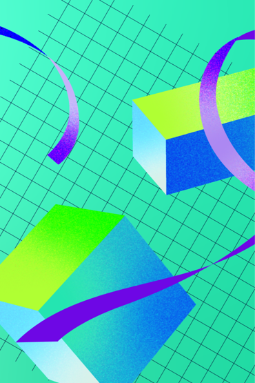 neon colored cubes and ribbons