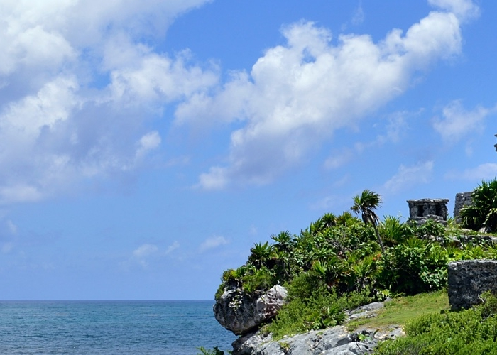 landscape shot of Mayan ruins in Tulum, Mexico
