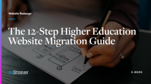 Ebook cover of the 12-step higher education website migration guide
