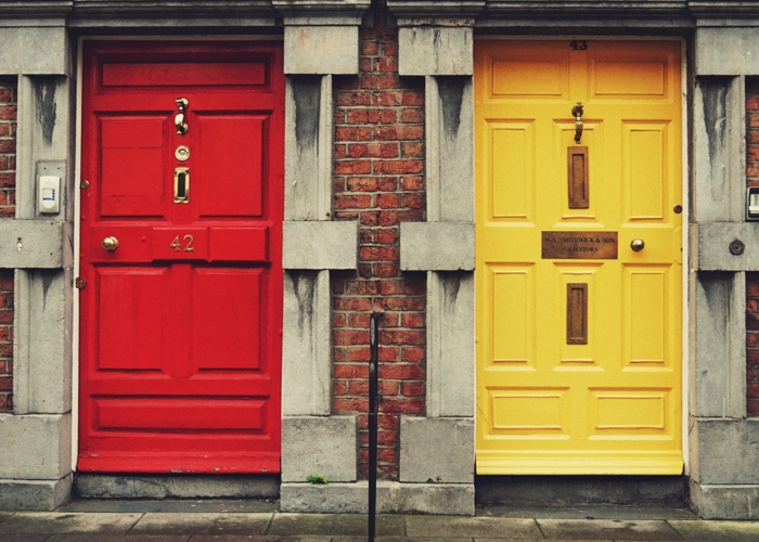 a red and yellow door