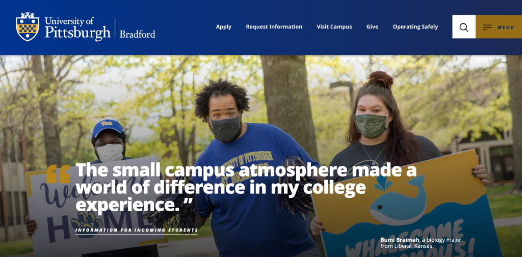 University of Pittsburgh at Bradford homepage