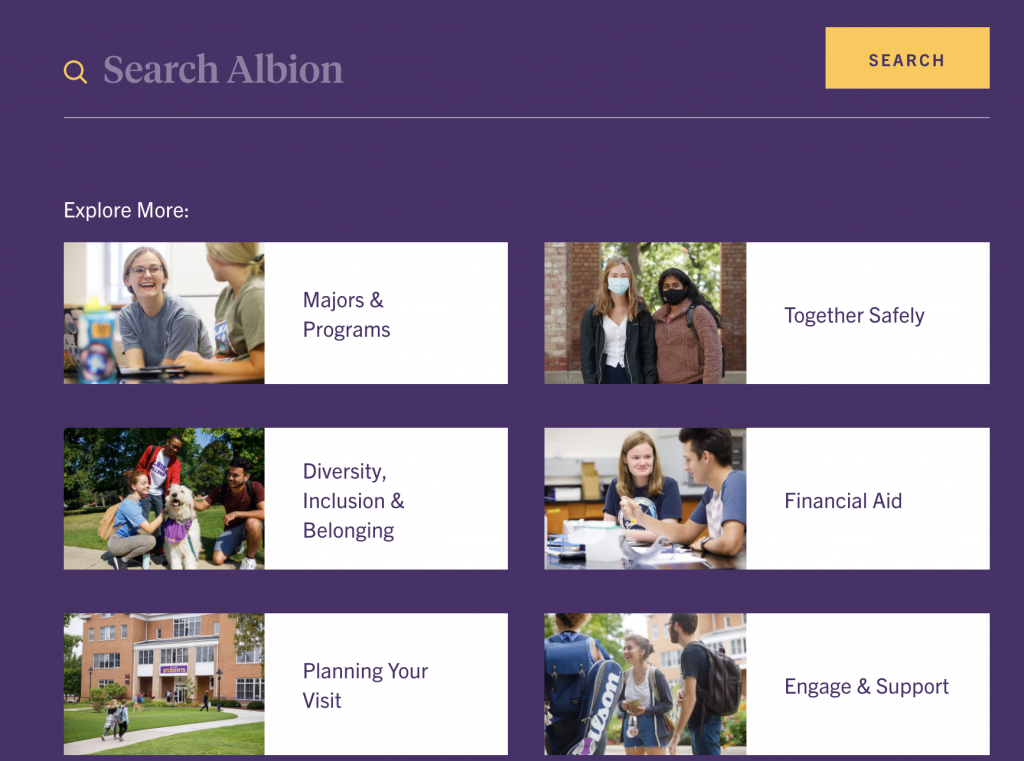 Albion College search functionality