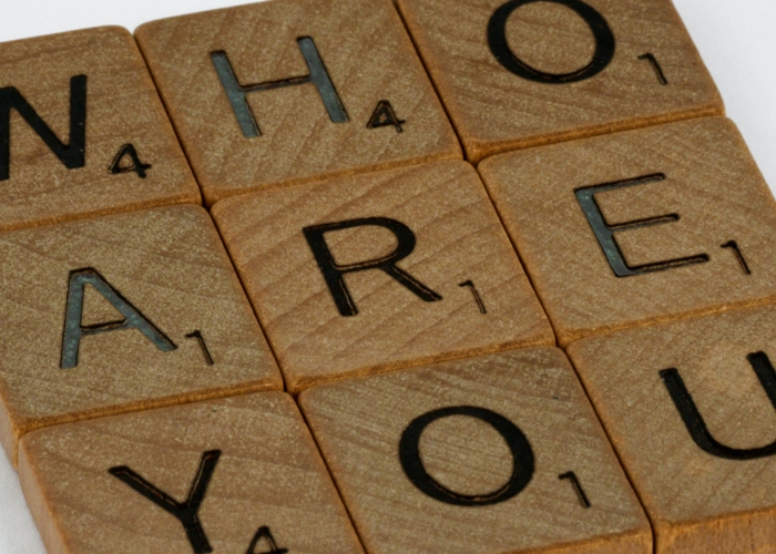 """letter tiles that spell out """"who are you"""""""